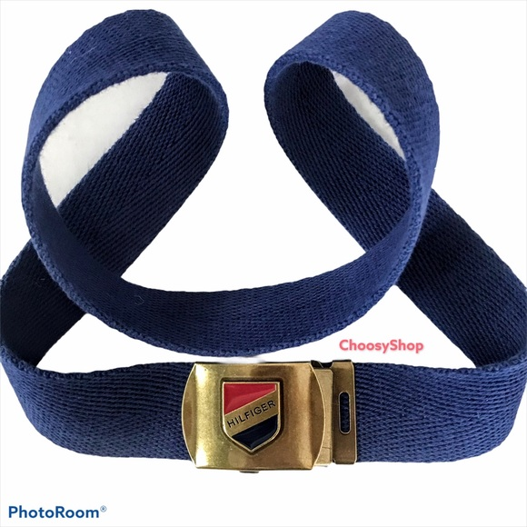 TOMMY HILFIGER Spell out Vintage Navy Fabric Belt